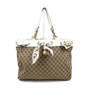 authentic Gucci Shoulder Bag Beiges Canvas